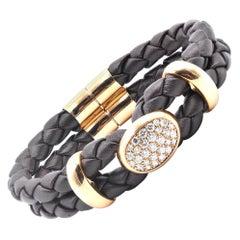 18 Karat Yellow Gold and Leather Pave Diamond Oval Station Bracelet