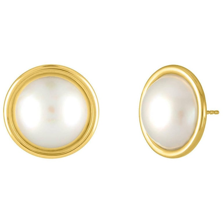 1ed4b752e 18 Karat Yellow Gold and Mabe Pearl Stud Earrings For Sale. Handmade Shah &  Shah 18k ...