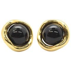 18 Karat Yellow Gold and Onyx Tiffany & Co. Earrings