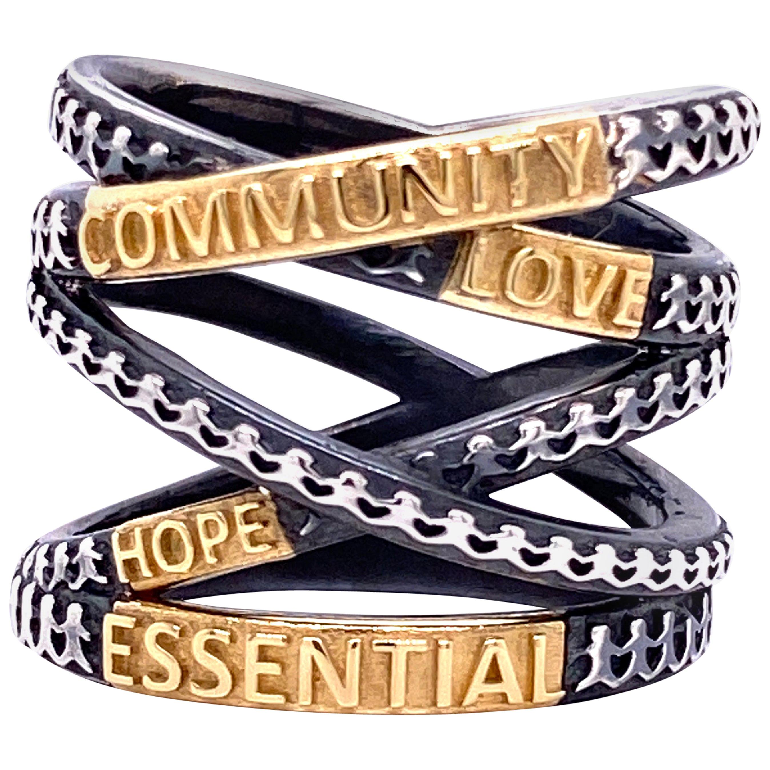 """18 Karat Yellow Gold and Oxidized Sterling Silver """"Not Non-Essential"""" Wrap Ring"""