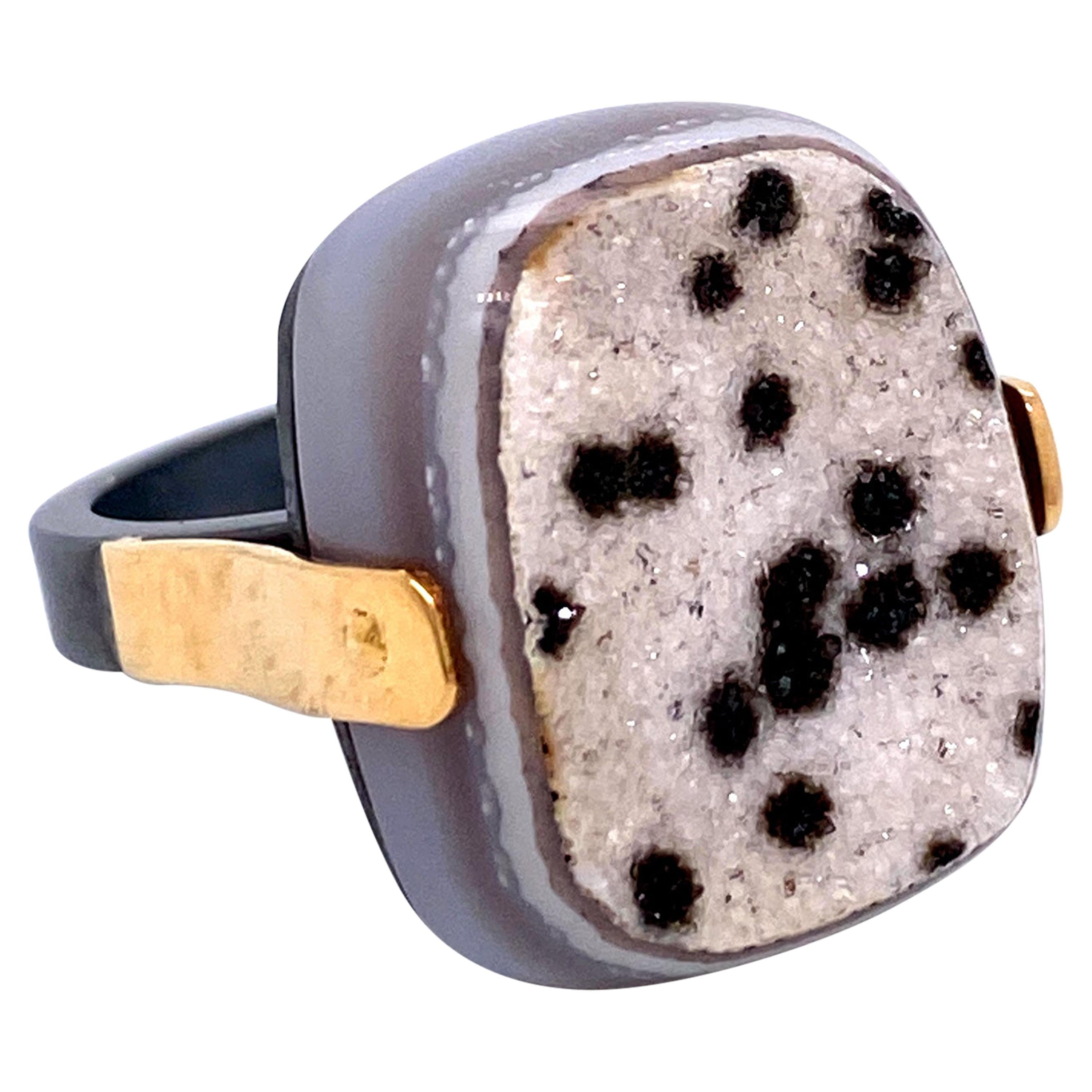 18 Karat Yellow Gold and Oxidized Sterling Silver Speckled Druzy Quartz Ring