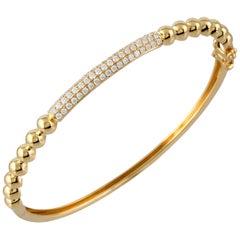 18 Karat Yellow Gold and Pave Diamond Cuff Bangle Stackable Bracelet 0.68 Carat