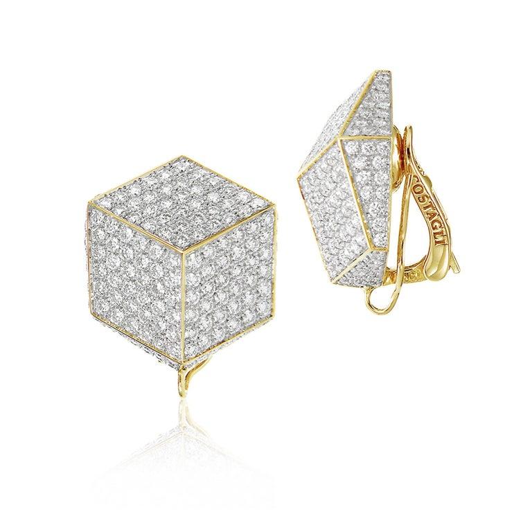 Contemporary Paolo Costagli 18 Karat Yellow Gold and Pave Diamonds Brillante Clip Earrings For Sale