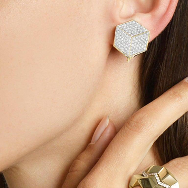 Round Cut Paolo Costagli 18 Karat Yellow Gold and Pave Diamonds Brillante Clip Earrings For Sale