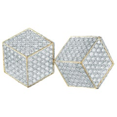 18 Karat Yellow Gold and Pave Diamonds 3.89 Carat, Brillante Clip Earrings