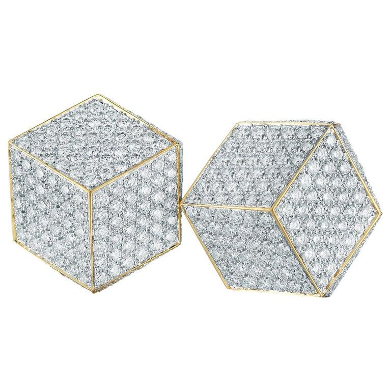Paolo Costagli 18 Karat Yellow Gold and Pave Diamonds Brillante Clip Earrings For Sale