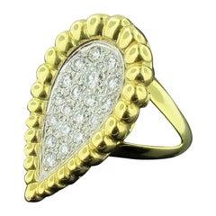 18 Karat Yellow Gold and Pave Pear Shaped Diamond Ring