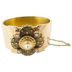 18 Karat Yellow Gold and Pearl Bangle Bracelet