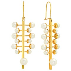 """FARBOD 18 Karat Yellow Gold and Pearl Earrings """"Branch"""""""