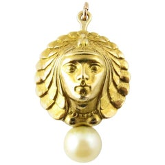 18 Karat Yellow Gold and Pearl Goddess Pendant or Brooch