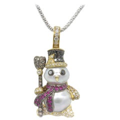 18 Karat Yellow Gold and Pearl Snowman with Diamonds