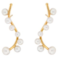 18 Karat Yellow Gold and Pearls Earrings