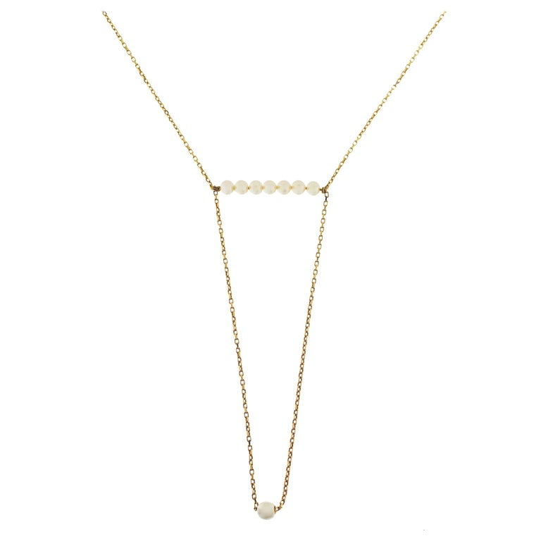 18 Karat Yellow Gold and Pearls Necklace For Sale