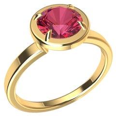 18 Karat Yellow Gold and Pink Sapphire Ring