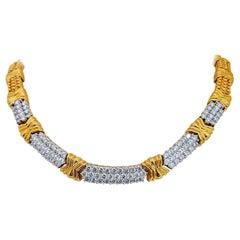 18 Karat Yellow Gold and Platinum 8.28 Carat Diamond Necklace
