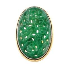 18 Karat Yellow Gold and Platinum Carved Jade Antique Ring