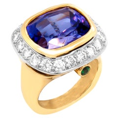 18 Karat Yellow Gold and Platinum Cushion Cut Tanzanite Diamonds Cocktail Ring