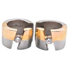 "18 Karat Yellow Gold and Platinum Diamond Huggie Earrings Signed ""Selene"""
