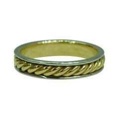 18 Karat Yellow Gold and Platinum Hand Crafted Rope Band