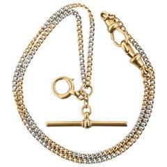18 Karat Yellow Gold and Platinum Watch Chain