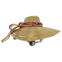 18 Karat Yellow Gold and Red Enamel Straw Hat Brooch