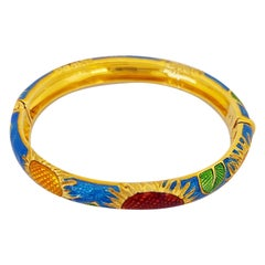 18 Karat Yellow Gold and Red, Yellow, Blue, Enamel Sunflowers Bangle Bracelet