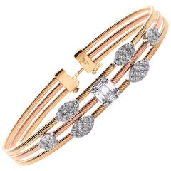 18 Karat Yellow Gold and Rose Gold 3 Wire Diamond Cluster Bangle