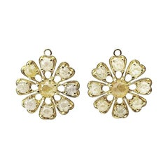 18 Karat Yellow Gold and Double Rose Cut Diamond Earring Charms