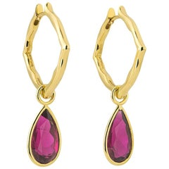 18 Karat Yellow Gold and Rubelite Small Hoop Earrings