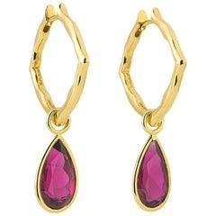 18 Karat Yellow Gold and Rubellite Small Hoop Earrings