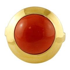 18 Karat Yellow Gold and Rubrum Coral Vintage Ring