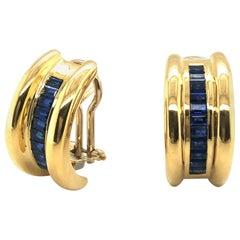 18 Karat Yellow Gold and Sapphire Half-Hoop Earrings by Bucherer