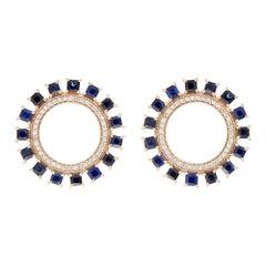 18 Karat Yellow Gold and Sapphire Sun Earrings