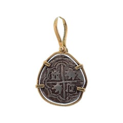 18 Karat Yellow Gold and Silver Ancient Coin Charm