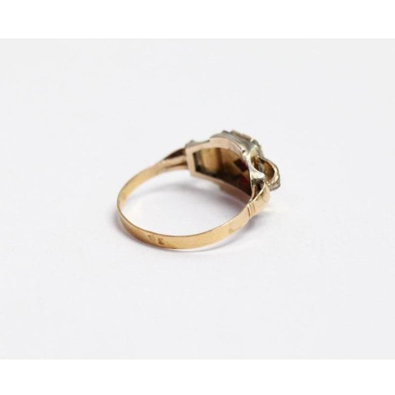 Antique Cushion Cut 18 Karat Yellow Gold and Silver Ring with 3 Rubies For Sale