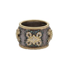 18 Karat Yellow Gold and Silver Wide Band Ring with Diamonds and Tourmalines