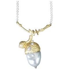 18 Karat Yellow Gold and South Sea Biwa Pearl Pendant