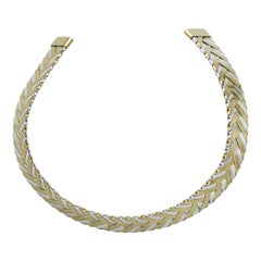 18 Karat Yellow Gold and Sterling Silver Braided Collar Necklace