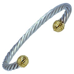 18 Karat Yellow Gold and Sterling Silver Cable Bracelet
