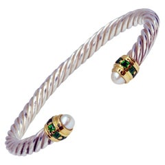 18 Karat Yellow Gold and Sterling Silver Cable Bracelet Set with Tsavorites