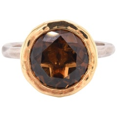 18 Karat Yellow Gold and Sterling Silver Cognac Quartz Ring
