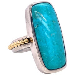 18 Karat Yellow Gold and Sterling Silver Turquoise Cabochon Ring