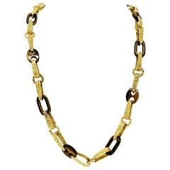 18 Karat Yellow Gold and Tiger's Eye Heavy Link Chain Necklace