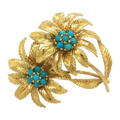 18 Karat Yellow Gold and Turquoise Flower Brooch