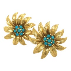18 Karat Yellow Gold and Turquoise Flower Ear Clips