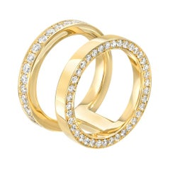 18 Karat Yellow Gold and White Diamond Doublet Ring