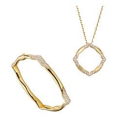 18 Karat Yellow Gold and White Diamonds Bangle and Pendant