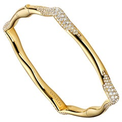 18 Karat Yellow Gold and White Diamonds Bangle