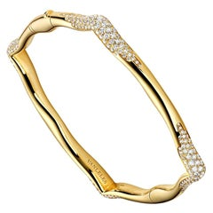 18 Karat Yellow Gold and White Diamonds Bangle