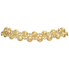 18 Karat Yellow Gold and White Diamonds Choker Necklace